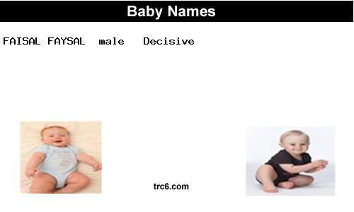 Faisal Faysal Baby Names