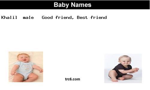 Khalil Baby Name Khalill Baby Names